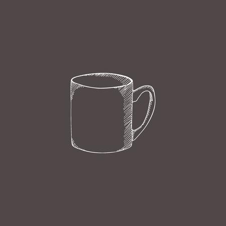 Vector illustratie schets beker. Hand getrokken doodle stijl. Gravure effect.