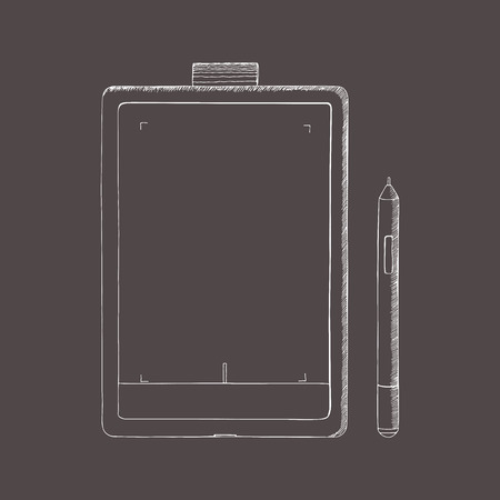 note pad: Tablet PC hand drawn vector illustration. A graphics tablet with pen. Doodle, sketch style. Abstract illustration with engraving effect.
