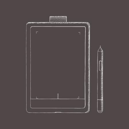 Tablet pc hand getrokken vectorillustratie. Een grafisch tablet met pen. Doodle, schetsstijl. Abstracte illustratie met gravure effect.