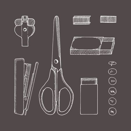 Stationery. Vector sketch hand-drawn illustration. Doodle style. Scissors, button, pins, staples, carton, staple remover, stapler.