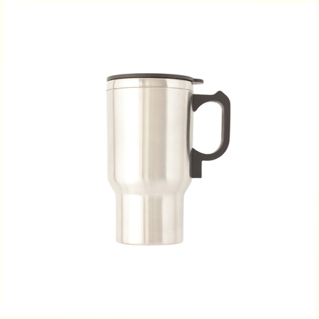Cup with heating from the cigarette lighter. Steel mug, cup. Isolate on white background.