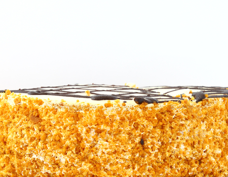 Honey cake close-up. Pie decorated with chocolate on a white background.