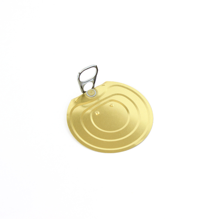Tin can lid with opener isolated on white background.