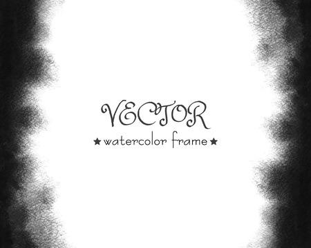 Vector zwart aquarel frame. Grijze waterverfhand geschilderde achtergrond. Waterkleurige was. Textuur met vage randen. Stock Illustratie