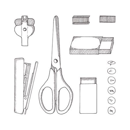 Papeterie. Croquis illustration dessinée à la main. Style Doodle. Ciseaux, bouton, épingles, agrafes, carton, dégrafeuse, agrafeuse.