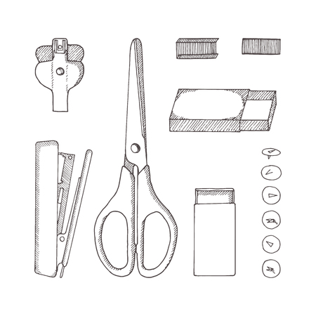 Stationery. Sketch hand-drawn illustration. Doodle style. Scissors, button, pins, staples, carton, staple remover, stapler.