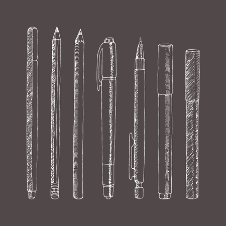 sketch of pencils and pens. Hand drawn illustration. Collection in doodle style.