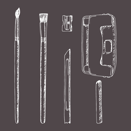 set of sketch stationery items handmade in sketch style. Brush, pencil sharpener, hole punch, puncher, knife plasticine, wax pencil. School Supplies. Stationery mock up. Retro design. Vintage style. Foto de archivo