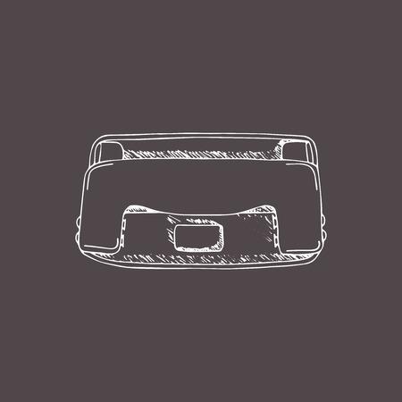 Perforator. hand tekenen illustratie met doodle, schets stijl.