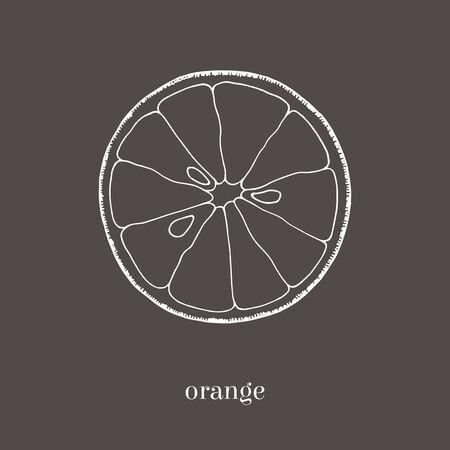 Oranje plak hand getrokken schets. Geïsoleerde illustratie. Vintage-stijl. Stockfoto