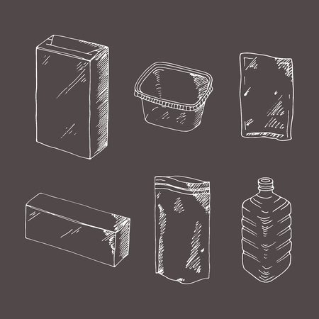 Product packaging engraving set. Mock up template food and drink packing. Hand drawn sketch, doodle. Blank objects plastic boxes, cans and bottles, cardboard and paper package.