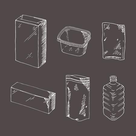 Set van graveren voor het verpakken van producten. Mock up sjabloon eten en drinken verpakking. Hand getrokken schets, doodle. Lege voorwerpen plastic dozen, blikken en flessen, karton en document pakket. Stockfoto