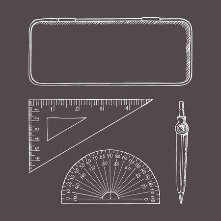 Briefpapier in schetsstijl. Illustratie set. Hand getrokken doodle. Kompassen, doos, liniaal, gradenboog.