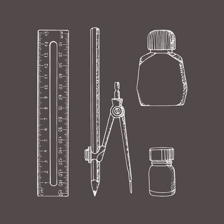 Stationery in sketch style. Illustration set. Hand-drawn doodle. Compass, ruler, pencil, ink, paint. Foto de archivo