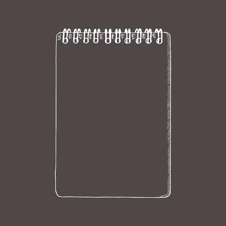 Notebook, Kladblok. Doodle, schetsstijl. Hand getrokken illustratie. Stockfoto