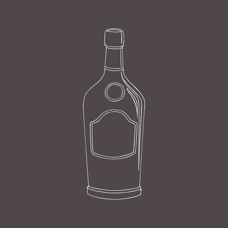 hand drawn sketches container for beverage. A bottle cognac.