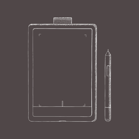 Tablet PC hand drawn illustration. A graphics tablet with pen. Doodle, sketch style. Abstract illustration with engraving effect.