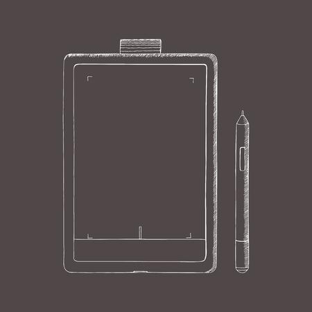 Tablet PC hand getrokken illustratie. Een grafisch tablet met pen. Doodle, schetsstijl. Abstracte illustratie met gravure effect.