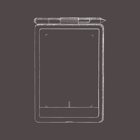 Tablet PC hand drawn illustration. A graphics tablet with pen. Doodle, sketch style. Abstract illustration with engraving effect. Template for design, mockup.