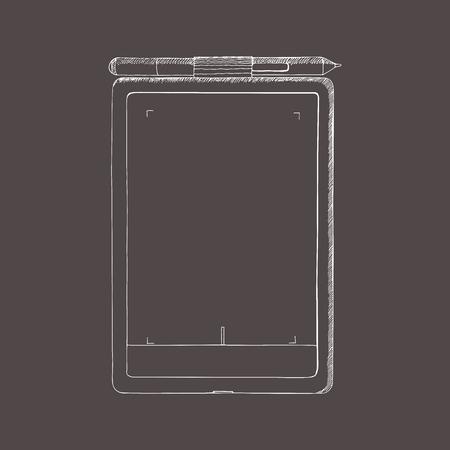 Tablet PC hand getrokken illustratie. Een grafisch tablet met pen. Doodle, schetsstijl. Abstracte illustratie met gravure effect. Sjabloon voor ontwerp, mockup.