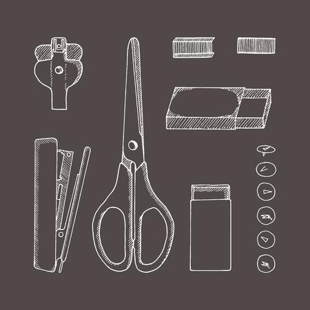 Briefpapier. Schets handgetekende illustratie. Doodle stijl. Schaar, knop, pinnen, nietjes, karton, nietjesverwijderaar, nietmachine. Stockfoto