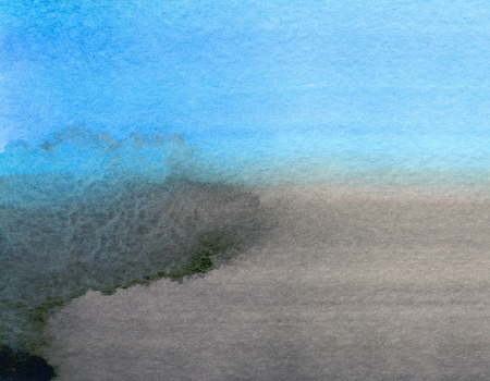 Abstracte hand getrokken textuur. Aquarel was. Handgeschilderde ombre achtergrond. Zwart blauwe kleuren. Aquarel vlekken gradiënt. Grijze handgetekende textuur. Stockfoto