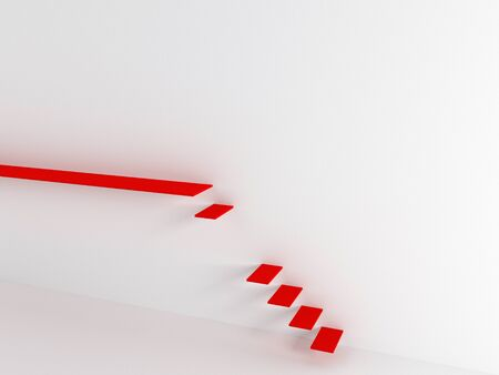 Red stairs on a white background. 3d render, abstract minimal illustration. Modern minimalist concept. Airy wall and steps 版權商用圖片