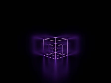 3d render. Violet lilac glowing lines. Neon cube. Geometric background. 版權商用圖片