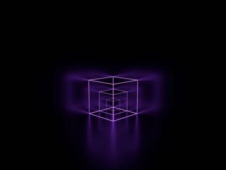 3d render. Violet lilac glowing lines. Neon cube. Geometric background. Foto de archivo