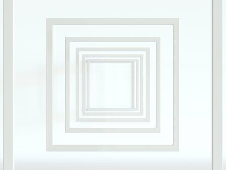 3d render. White frames on a white background. Simple abstract, minimal style Foto de archivo