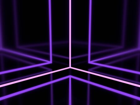 3d render. Violet lilac glowing lines. Neon cube. Geometric background