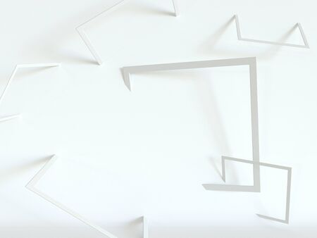 Turned white frames on a white background. 3d rendering. Simple abstract, minimal style 版權商用圖片