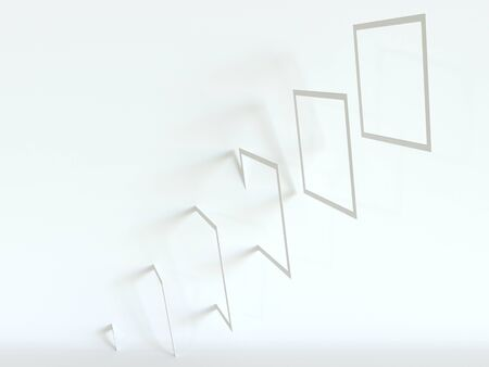 Rotated white frames on a white background. 3d rendering. Simple abstract, minimal style.