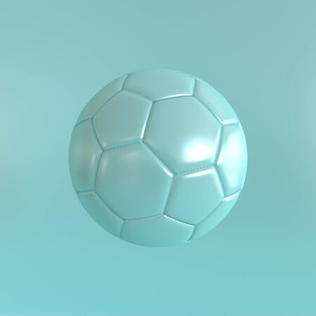 Blue soccer ball on a blue background. 3d realistic illustration. Rendering of a leather football in a mint style. Light image on the theme of sport, competition, match