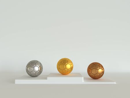 Soccer balls in gold, silver and bronze on a pedestal. 3d illustration on a white background. Rendering realistic football. First and second and third places winning prizes on ceremony pedestal 版權商用圖片
