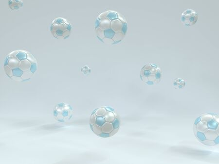 White blue soccer balls on a white background. 3d realistic illustration. Leather shine football jump, casting shadows. Light image on the theme of sport, competition, match Foto de archivo