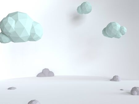 Fluffy blue clouds on a white background. Sunny day in a minimalistic style. 3d render triangle illustration. Mint color scene with soft shadows.