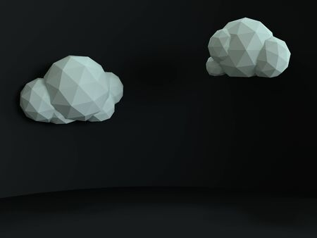 Fluffy white clouds on a black background. Night in a minimalistic style. 3d render illustration. Gray color scene with soft shadows