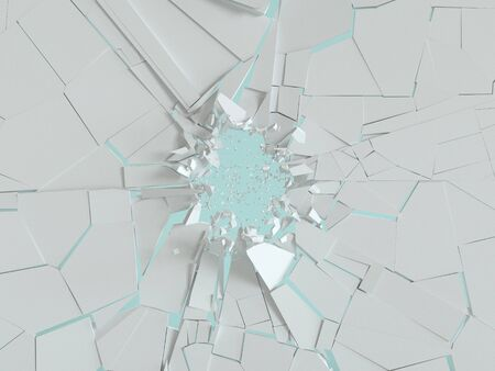 Explosion of white wall. Flying shards on a blue background. 3d render. Rendering abstract background. Geometric illustration