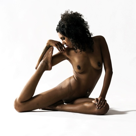 beautiful nude women: Art Nude Studio Portrait yoga pose