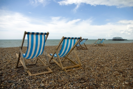a photo of the deckchairs on Brighton Beach UK  photo