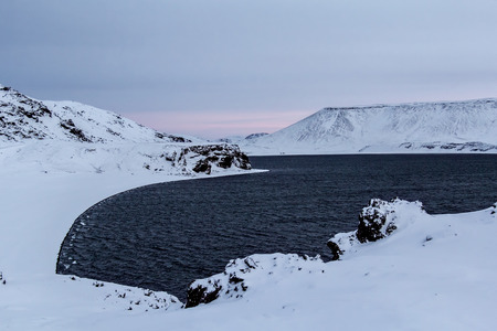 Photo of the Lake of Kleifarvatn, Reykjanes Peninsula, Iceland.