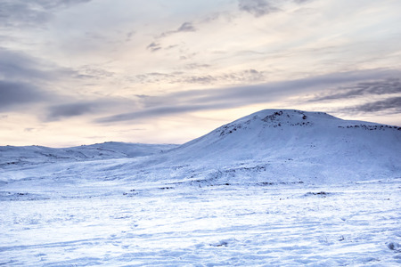 Photo of the landscape and mountains covered in snow at Reykjanes Peninsula, Iceland.Photo taken in Iceland in December 2014 Stock Photo