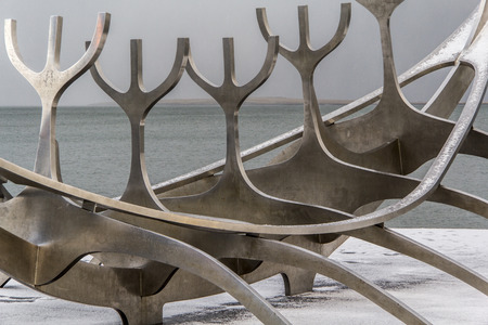 Abstract photography of the  sun voyager dreamboat sculpture in Reykjav?k, Iceland.