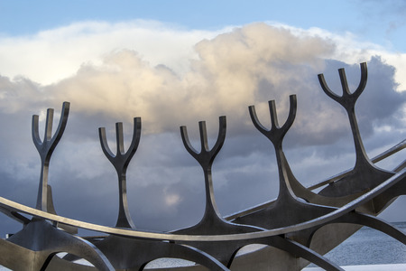 Abstract photo of part of the  sun voyager dreamboat sculpture in Reykjav?k, Iceland.