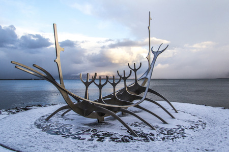 The sun voyager dreamboat sculpture in Reykjav?k, Iceland.