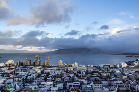 View of the landscape in Reykjav?k, Iceland from the top of Hallgr?mskirkja Church. Stock Photo