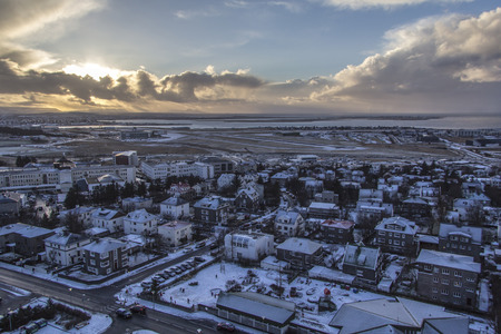 View of the landscape in Reykjav?k Iceland when the sun is setting, photo taken from the top of Hallgr?mskirkja Church.