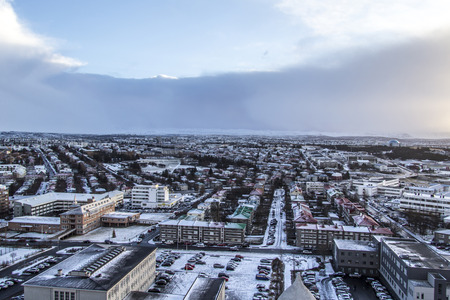 Birds eye view of the city and landscape in Reykjav?k, Iceland