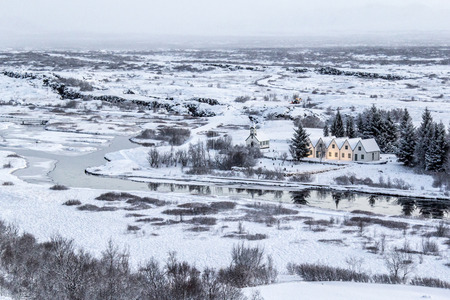 The presidents houses and landscape covered in snow in Thingvellir National Park, Iceland. Stock Photo